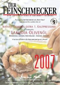 2007 Prämierung der Feinschmecker für Lakudia Olivenöl