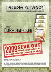 2009 Prämierung der Feinschmecker Urkunde
