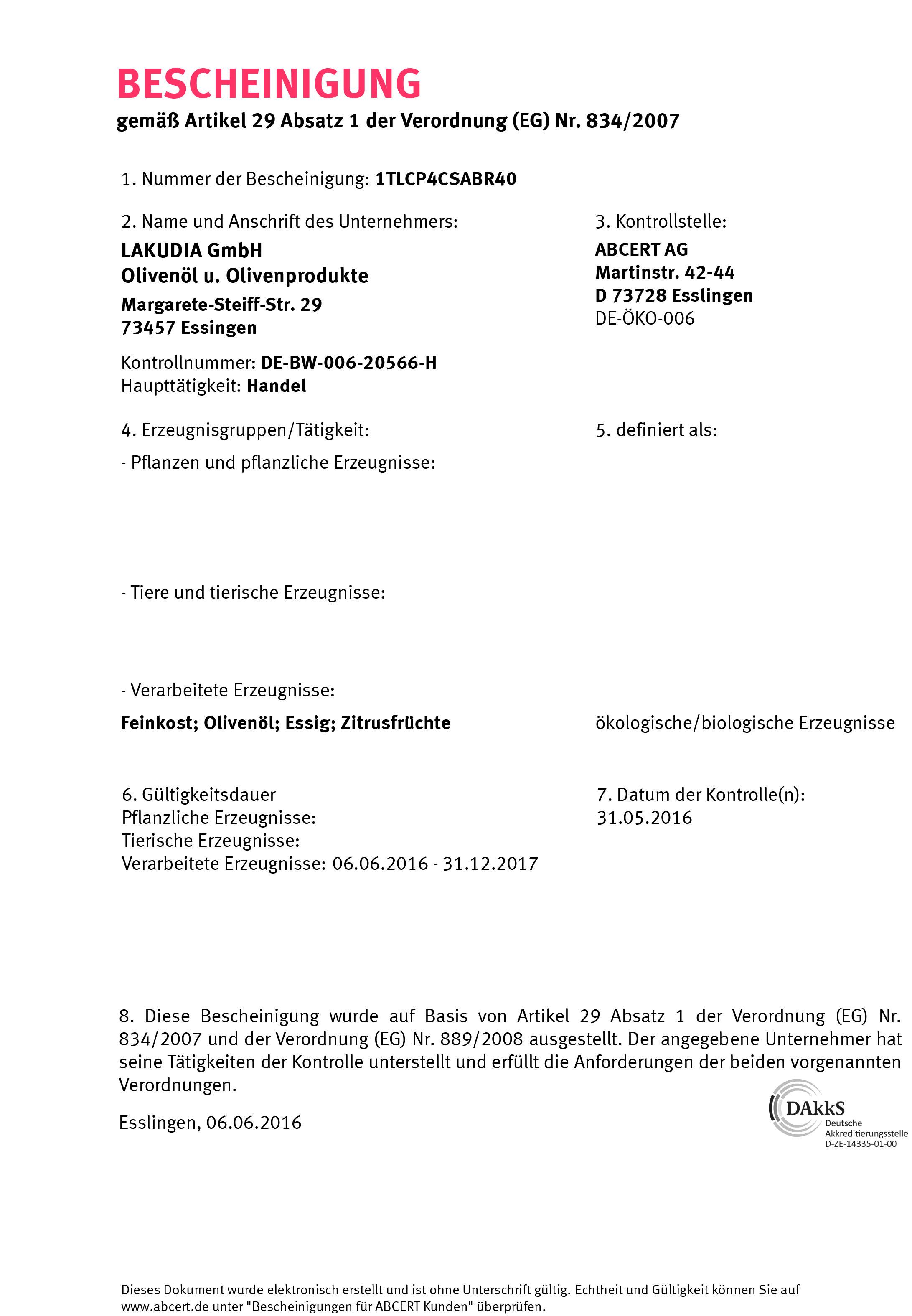 BIO Zertifizierung 2016