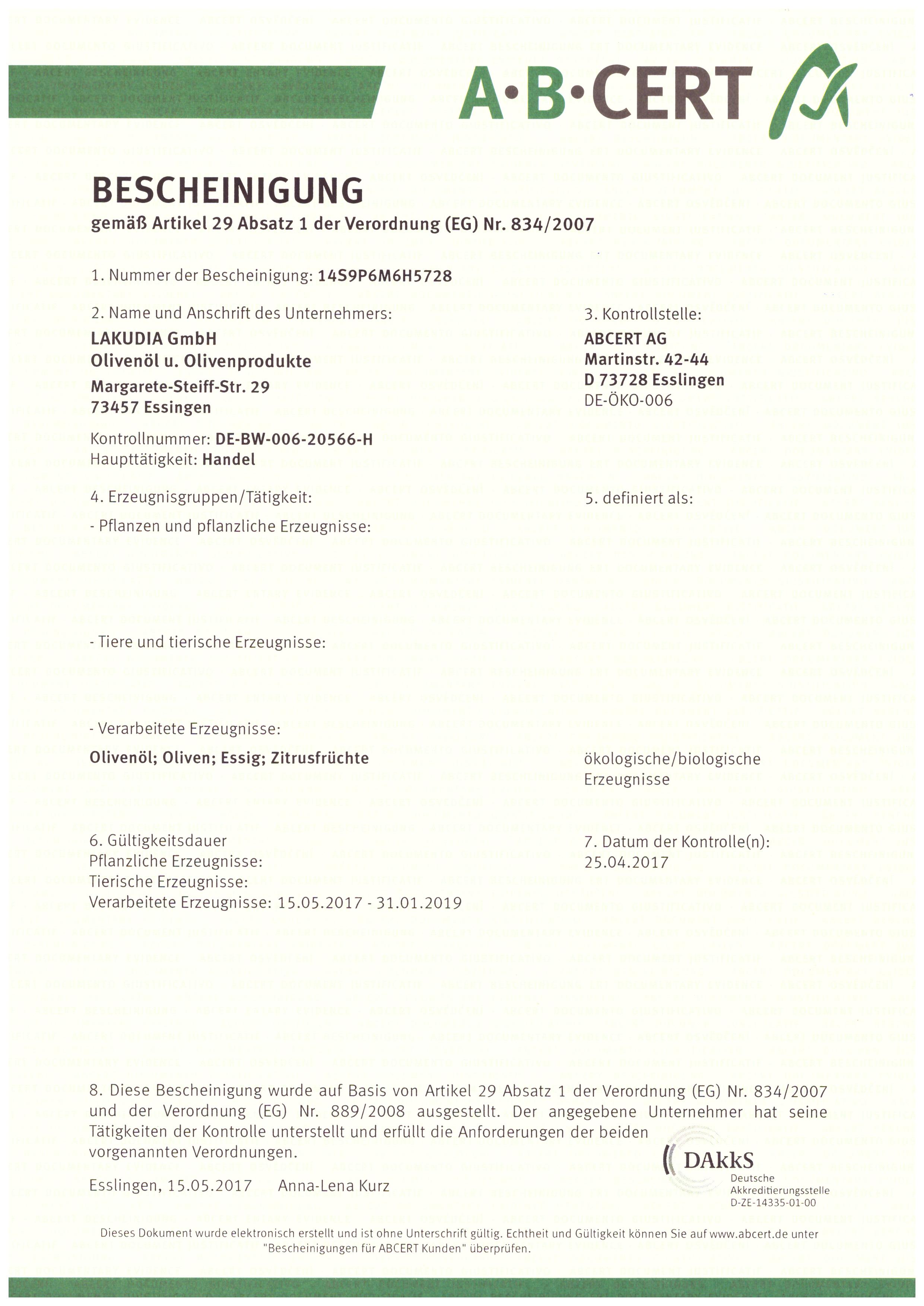 BIO Zertifizierung 2017