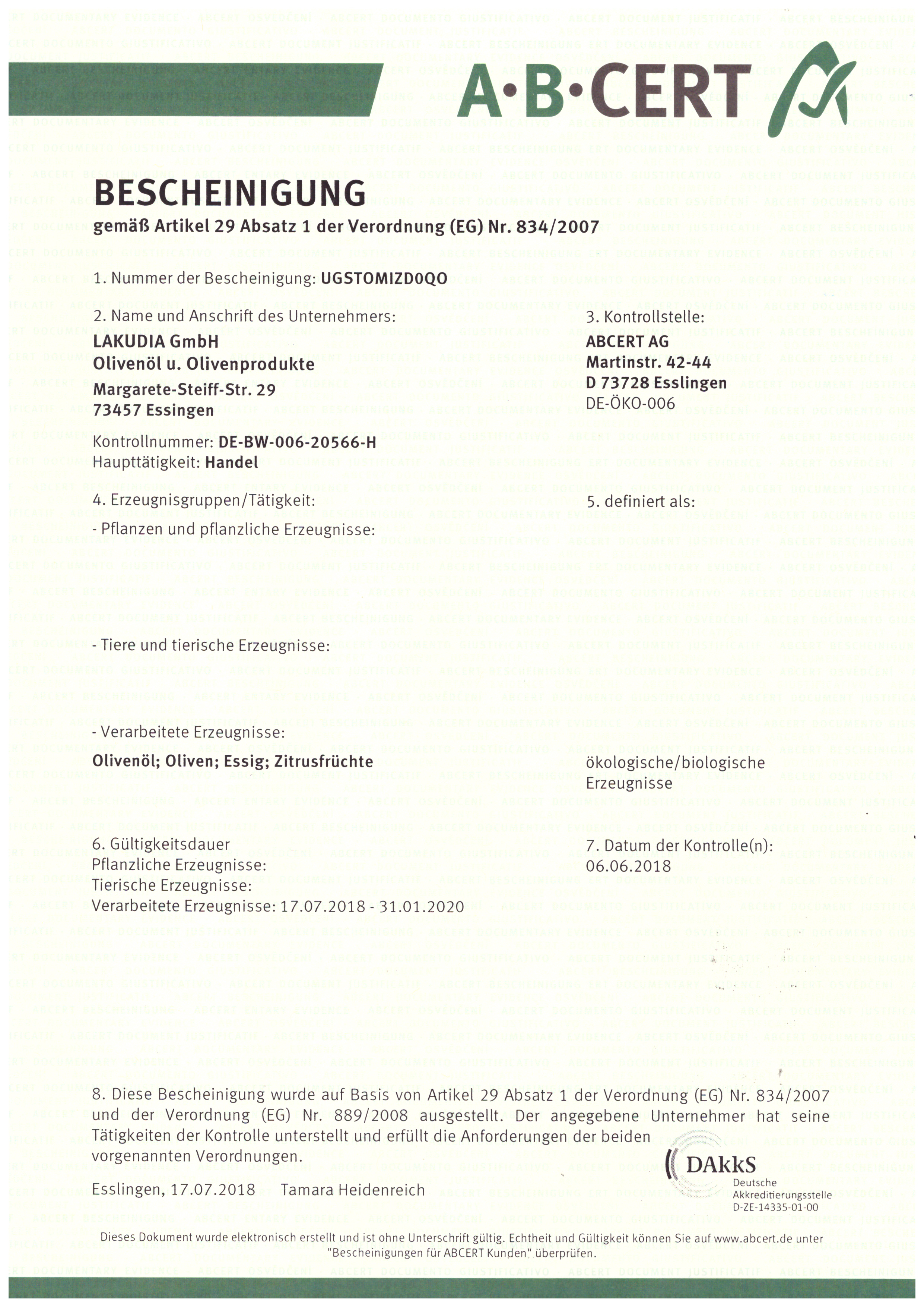 BIO Zertifizierung 2018