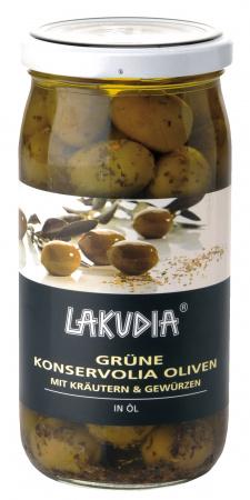 Grüne Konservolia Oliven mit Kräutern und Gewürzen