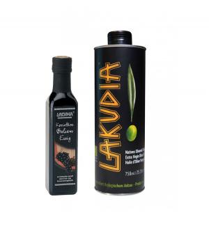 LAKUDIA Kennenlern-Set BIO - 750ml BIO Olivenöl Nativ Extra und 250ml BIO Balsam Essig