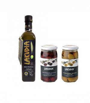 LAKUDIA Kennenlern-Set - 500ml Olivenöl Nativ Extra, Kalamata und Chalkidiki Oliven ohne Kern