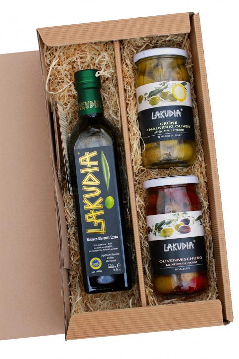 Geschenkset mit LAKUDIA Olivenöl und zwei Gläsern Oliven