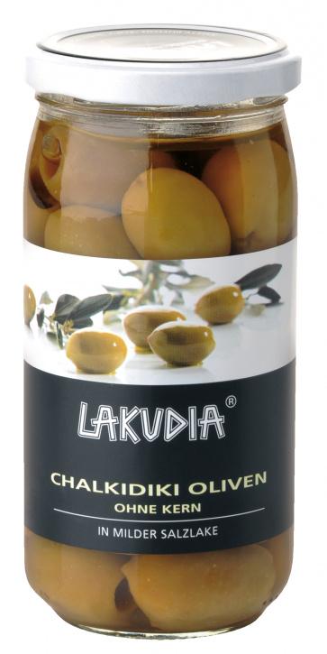 Grüne Chalkidiki Oliven, ohne Kern