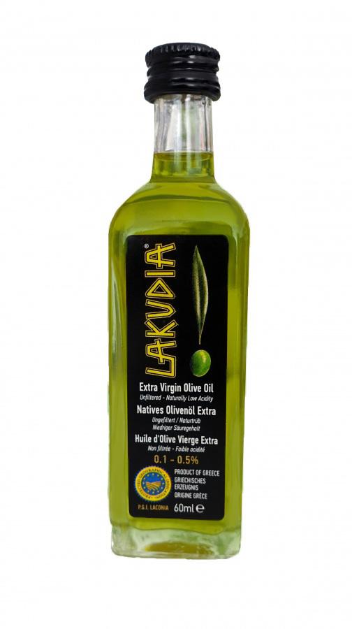 Probefläschchen 60ml grünes LAKUDIA Olivenöl Ernte Okt. 2021 (Nativ Extra)