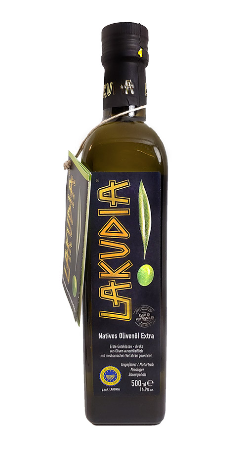 0,5 Liter grünes LAKUDIA Olivenöl Ernte Okt. 2021 (Nativ Extra)