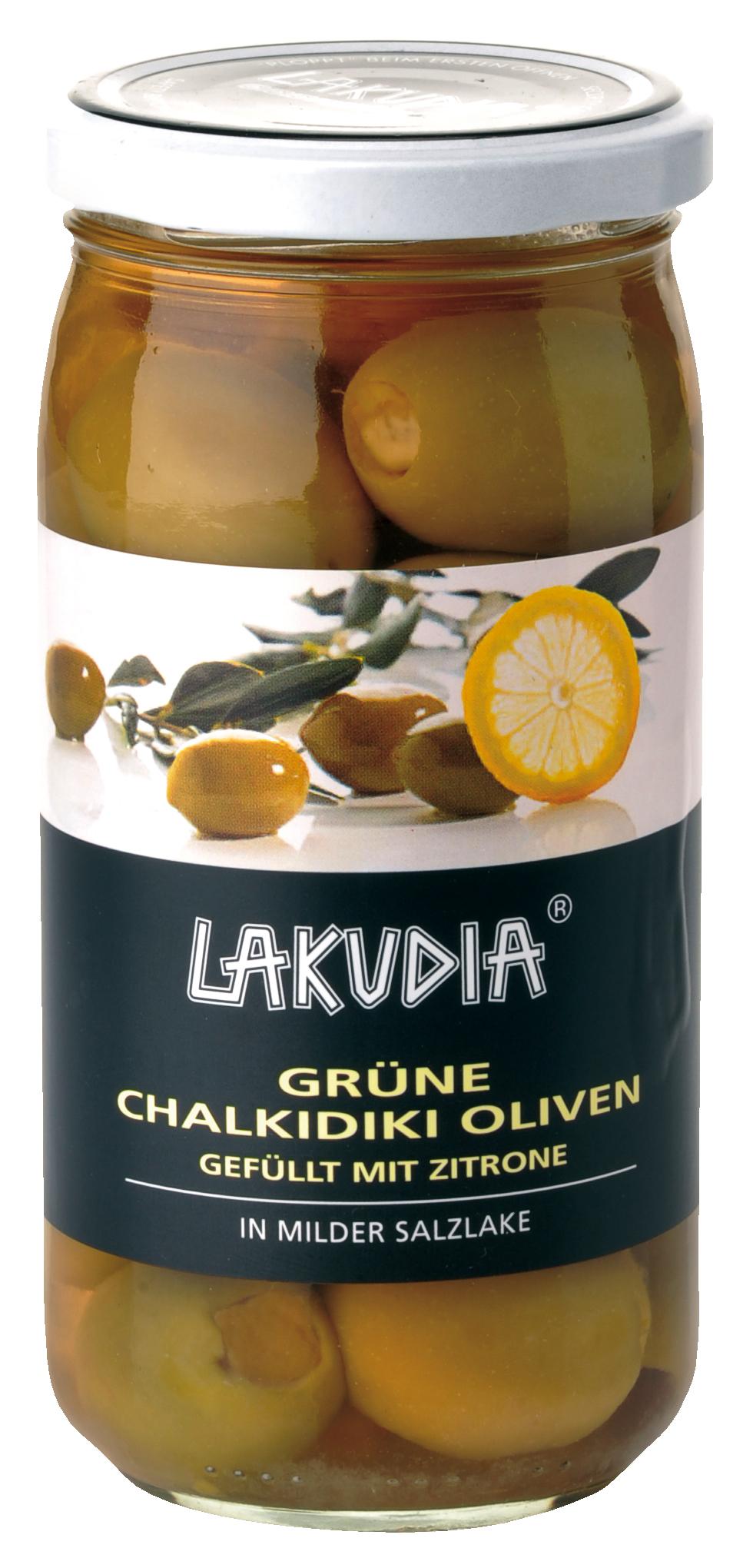 Grüne Chalkidiki Oliven gefüllt mit Zitrone