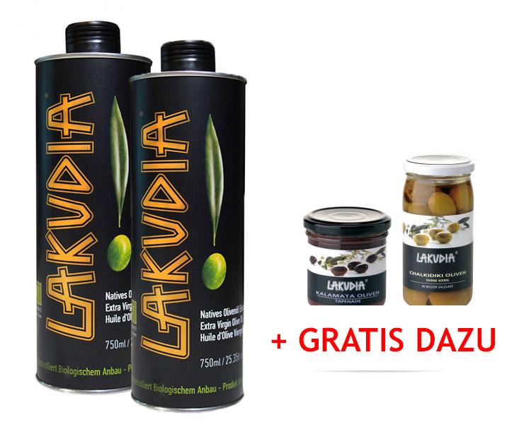VORTEILSPAKET 2 x 750ml LAKUDIA BIO Olivenöl Nativ Extra - inkl. 2 Gratis-Artikeln